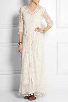 KATE MOSS FOR TOPSHOP Embroidered tulle and crocheted lace maxi dress $360
