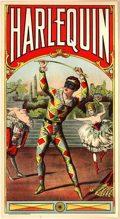 Harlequin cards Vintage advertisement, via DoubleM2-Pierrot and Columbine