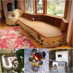 Rocket Heaters with bench or floor as thermal mass chamber! Amazing!