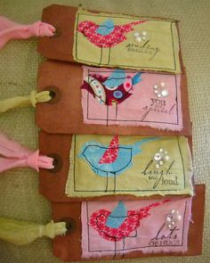Hand dyed paper tags with die cut fabric birds and hand dyed fabric embellishment
