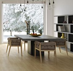 Dusk, square dining table in concrete and matte black finish