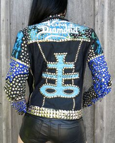 King Diamond Abigail Studded Denim & Leather Jacket by HellCouture