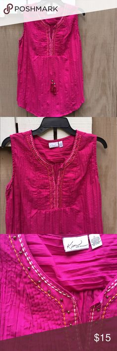 Kim Rogers pleated summer top Rim Rogers brand pleated material summer top. Colorful embroidery and beads accent the neckline and bust area on the top. Ties at neck with beaded tassels at the end of the tie. 90% ppl/10% cotton. Please ask for additional information if needed before purchasing. Kim Rogers Tops Blouses