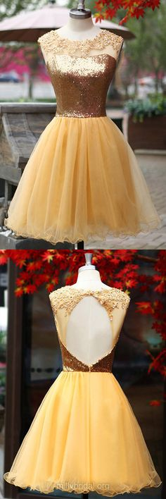 Cute Gold Homecoming Dresses,Scoop Neck Gold Party Gowns,Tulle Sequined Cocktail Club Dress, Open Back Short Graduation Dress, Sexy Prom Dresses