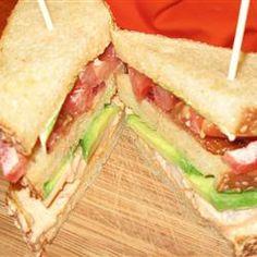 Triple Decker Grilled Shrimp BLT with Avocado and Chipotle Mayo Allrecipes.com