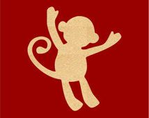 Baby Monkey Wood Cutout Shape Laser Cut Crafts, Gift Tags, Ornaments (Various Sizes) AS15