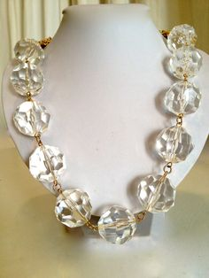 Rock Crystal and Multi Strand Chain Collar by WOWTHATSBEAUTIFUL