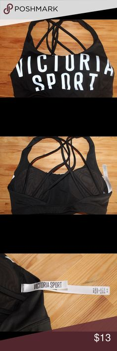 Victoria's Secret Sports Bra Victoria's Secret Sports Bra! Never worn, but do not have original tags. The straps are what won me over, however, it's time to pass it along.                                                  🔹Lightly lined with removable cups.                          🔹Size XS. I wear a 34A  bra and this fits perfect              🔹With this purchase, I am also including the PINK card holder and change purse! Don't pass up this deal! Victoria's Secret Intimates & Sleepwear…