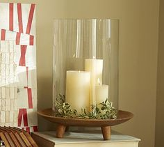 """Wood Tray & Glass Hurricane 