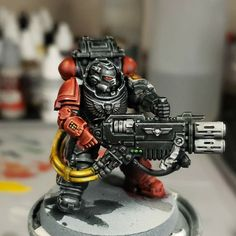 Space Marine, Warhammer 40k, Armour, Miniatures, Fantasy, Red, Painting, Body Armor, Painting Art