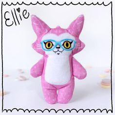Ellie and her New Glasses - cat doll stuffed plush made from soft pink minky fabric