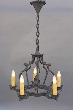 6460. Five Light Spanish Revival Chandelier, Antique Chandeliers, Antique and Spanish Revival Lighting: Sconces,Chandeliers etc. at Revival Antiques