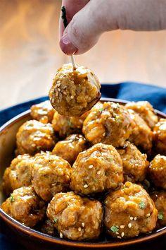 Pork and Shrimp Meatballs with Teriyaki Glaze