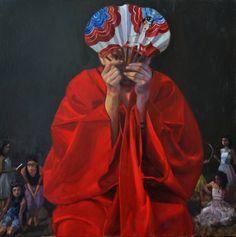Sophie MORISSE, On nous observe, 100 x 100 cm, huile sur toile