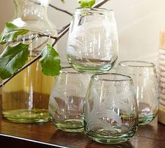 Etched Recycled Stemless Wine Glass, Set of 4 #potterybarn