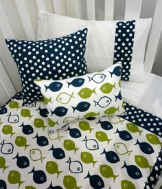 Navy and Green Baby Boy Bedding by Memrie..My colors for Parkers nursery!! I love this!