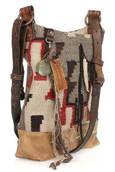 Ralph Lauren Collection Vintage Blanket hobo bag...This thing realizada en tricot  utilizando hilo algodon colores tierra y semicuero