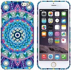 """myLife Blue, Purple, and Green {Colorful Tribal Mandala Pattern} 2 Piece Snap-On Rubberized Protective Faceplate Case for the NEW iPhone 6 (6G) 6th Generation Phone by Apple, 4.7"""" Screen Version """"All Ports Accessible"""" myLife Brand Products http://www.amazon.com/dp/B00U0L652Q/ref=cm_sw_r_pi_dp_cfhfvb08CTE6J"""