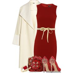 Love dress, coat and belt. Red N Gold by cassandra-cafone-wright on Polyvore featuring Jaeger, ADAM, Casadei, Judith Leiber and Paul & Joe