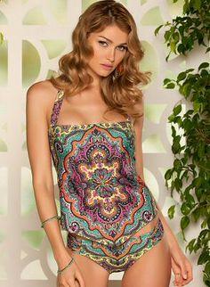halter #tankini in an allover #bohemian #paisley print - Becca Swimwear $132.00