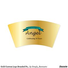 Gold Custom Logo Branded Paper Cups W/ Text