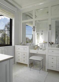 double vanity & make-up vanity design | paneled mirrors