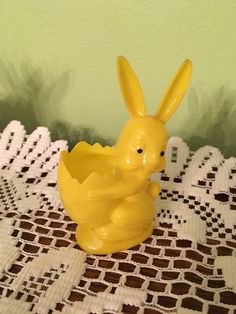 Vintage Easter Holiday Yellow Plastic Bunny Rosbro Candy Container by VintageLove50 on Etsy