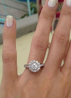 Classic Halo Ring - Round Cut Diamond Engagement Rings With White Diamond In 14k White Gold FREE WORLDWIDE SHIPPING #halo #diamond #ring