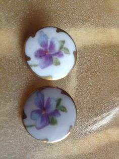 Two Victorian Porcelain Violet Brooch Pins by Tessey2 on Etsy, $45.00