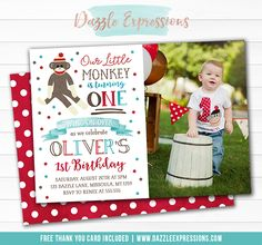 Printable Sock Monkey Watercolor Birthday Invitation | Boy or Girl 1st Birthday Party | Swing on Over | Little Monkey Photo Invite | Red, Teal Blue and Brown Design | Thank You Card | Banner | Cupcake Toppers | Favor Tag | Food Labels | Photo Props | Signs | DIY Party Package Decor
