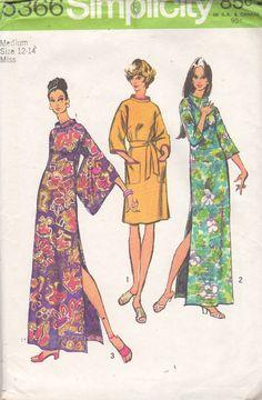 Simplicity 5366 1970s Dress Loungewear Pattern Chinese Style Sleeves Womens…