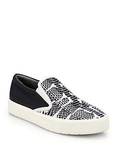 Vince Banler Snake-Embossed Leather Slip-On Sneakers