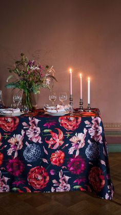 Floral Fantasia (Fantasy) pattern designed by Lasse Kovanen is inspired by a glorious mature garden. The white version bursts with pinks, peaches and greens, creating a fresh garden party vibe. The darker version is dramatic by nature and perfect for creating a cozy atmosphere to kitchen or festive table settings as autumn turns to winter. Peach And Green, Table Arrangements, Peaches, Pattern Design, Festive, Finding Yourself, Table Settings, Cozy, Autumn