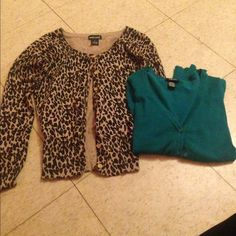 Cardigan bundle 2 cardigans, the cheetah is from wet seal and the teal is from rue 21 :) both are pretty stretchy and comfy! Wet Seal Sweaters Cardigans
