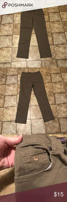 Size 8 Khaki Pants Not sure exactly what to call the material. I consider it khaki but some may say it's denim. Wonderful pants that are in great condition! Gloria Vanderbilt Pants Straight Leg