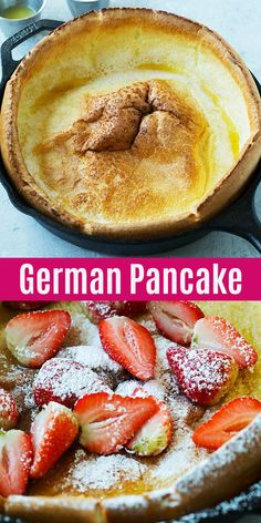 German Pancake – puffy and fluffy golden baked German pancake recipe. Serve with… German Pancake – puffy and fluffy golden baked German pancake recipe. Serve with powdered sugar, syrup, melted butter and berries for a wholesome breakfast. Baked Breakfast Recipes, Breakfast Bake, Breakfast Pancakes, Pancake Recipes, Crepe Pancake Recipe, German Breakfast, Mexican Breakfast, Sweet Breakfast, Waffle Recipes