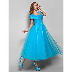 Ball Gown Straps Tea-length Tulle and Stretch Satin Evening/Prom Dress (699375)  – AUD $ 116.42