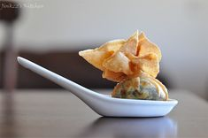 The change up's I'll try. Low fat cream cheese and ricotta, baked wonton cups instead of frying. Welcome to Jinkzz's Kitchen: Spinach Pouch