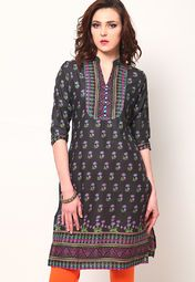 Flaunt a nonchalant look by wearing this black coloured kurti by Vishudh. This kurti is made from cotton blend, which ensures complete comfort and breathability to the wearer. The dupatta and salwar will further accentuate your ethnic look.