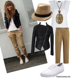 Wear Keds With Khaki Pants. Different, but it's kinda cute. Whitout the hat would be perfect. Mode Outfits, Fall Outfits, Summer Outfits, Casual Outfits, Fashion Outfits, Womens Fashion, Fashion 2014, Khaki Pants Outfit, Beige Outfit