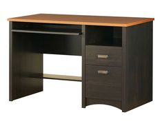 This desk provides an attractive and functional work space. Constructed from engineered wood in elegant ebony and spice hues, this working desk combines str Computer Desk Small Space, Small Office Desk, Computer Desks For Home, Table For Small Space, Desks For Small Spaces, Office Computer Desk, Home Desk, Computer Workstation, Homemade Desk