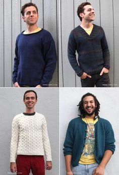 Some of our Valley Yarns patterns are a great option for a guy too. Check out these sweaters that the men of WEBS are modeling. #knitting