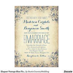 """Elegant Vintage Blue Flourish Wedding Invitations 5"""" X 7"""" Invitation Card"""
