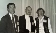 Stefan Tanaka with 2 unknown individuals at the 1996 AHA annual meeting in Atlanta.