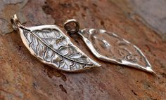 Artisan Sterling Silver Leaf Charm AD457 by CathyDailey on Etsy