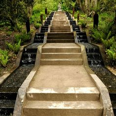 water fountain stairs