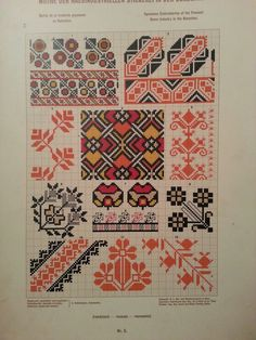 Stickerei aus Bukowina Cross Stitch Geometric, Cross Stitch Borders, Cross Stitch Alphabet, Cross Stitch Charts, Cross Stitch Patterns, Folk Embroidery, Embroidery Patterns Free, Cross Stitch Embroidery, Embroidery Designs