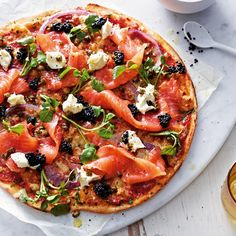 Smoked Salmon With Caviar And Mascarpone Pizza~ you don't want to spend hundreds of dollars going out to the finest restaurant in town, why not whip up this little number? It has smoked salmon which is cheaper than valet parking, and you can either splurge on the best caviar or go for simple salmon roe.