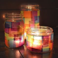It's super easy to make faux stained glass with this tutorial at Mom Spark. I good project for both kids and adults alike! jar crafts for kids crafts for kids mason jars Mason Jars, Mason Jar Crafts, Candle Jars, Mason Jar Candle Holders, Glass Craft, Candleholders, Recycled Jars, Recycled Crafts, Tissue Paper Crafts