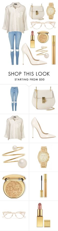 """""""Untitled #101"""" by mikssss ❤ liked on Polyvore featuring Topshop, Chloé, Jimmy Choo, Sophie Bille Brahe, MICHAEL Michael Kors, Christian Dior, Yves Saint Laurent, Cutler and Gross and AERIN"""